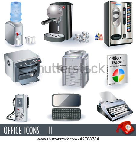 Office icons - part 3 - stock vector
