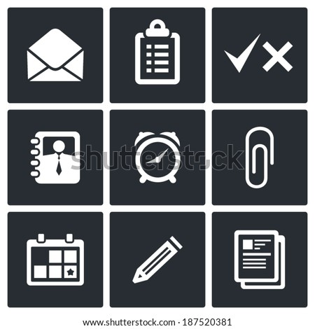 office icons set - stock vector