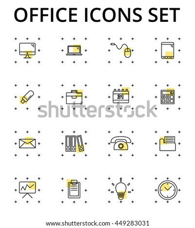 Office icons set, Smart thin line icon  - stock vector