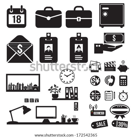 Office icons set, vector format - stock vector