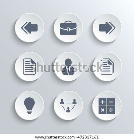 Office icons set - vector white round buttons with left right arrows document copy man avatar lamp team network calculator