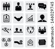 office icons ( signs ) of people & concepts for business- vector graphic. This illustration also represents employees & manager, receiving salary, hiring executives, handshake, people working, talking - stock vector