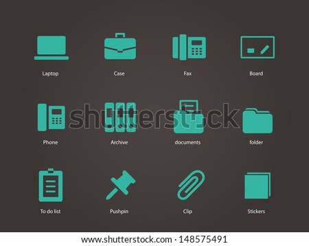 Office icons. Vector illustration. - stock vector
