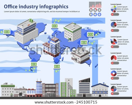 Office industry infographics with business buildings world map and charts vector illustration - stock vector