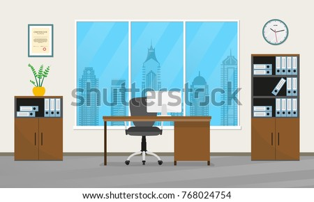 Office Interior Design. Modern Business Workspace With Office Furniture:  Chair, Desk With Computer