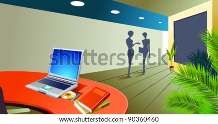 Office interior, with laptop opened on desk - stock vector