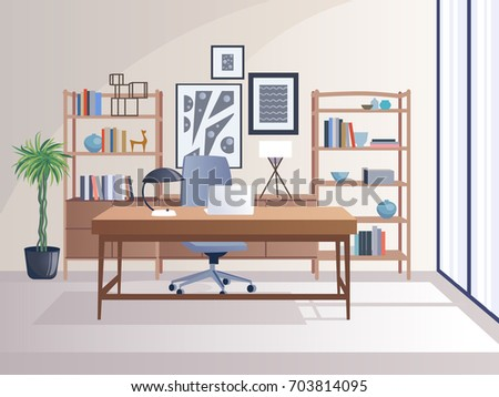 office interior with table decoration shelf computer vector clip art