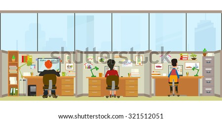 Office interior. workers sitting at desks and work on the computer. Vector illustration in a flat style. open space office building with working people. - stock vector