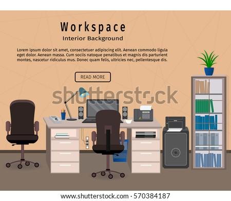 web design workspaces workspace office interior. Office Interior Workspace. Workplace Organization Concept. Web Design Banner. Flat Style Vector Illustration Workspaces Workspace O