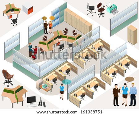 office isometric. completed office interior elements. info braphics with isometric 3d style - stock vector
