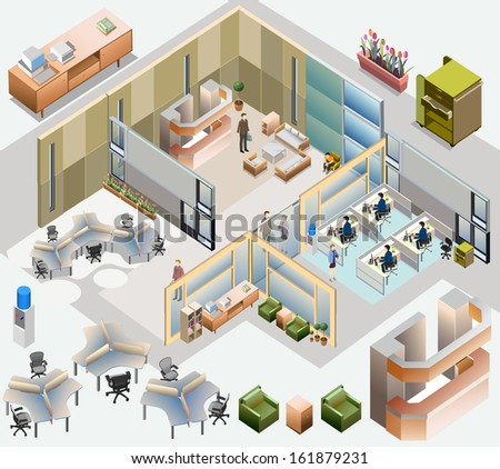 office isometric. with completed workstation, meeting room, receptions, lobby, include business people, activity - stock vector