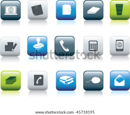 office items icon button collection illustration set - stock vector