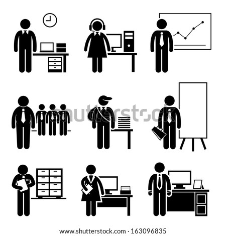 Office Jobs Occupations Careers - Staff Employee, Help Desk Support, Analyst, Runner, Manager, Marketing, Auditor, Secretary, CEO - Stick Figure Pictogram - stock vector