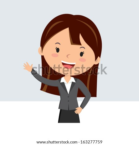 Office lady. Business woman waving hand. Business woman welcoming visitors. - stock vector