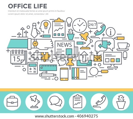 Office life concept illustration, thin line, flat design - stock vector
