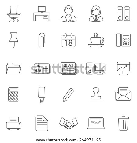 Office line icons set.Vector - stock vector
