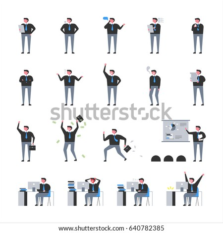 office man in various poses. character vector. illustration flat design