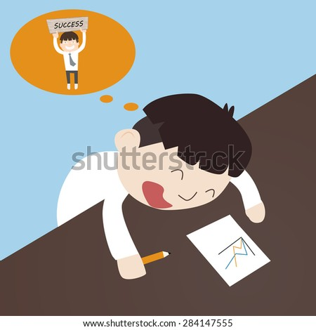 office man is sleep in time work and dreaming about his success - stock vector