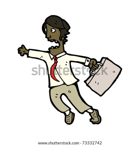 office man running cartoon