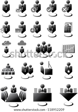 Office management icons set - stock vector