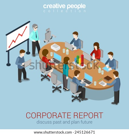 Office meeting room report business collaboration teamwork brainstorming flat 3d web isometric infographic concept vector. Staff around table working with laptop tablet. Creative people collection. - stock vector