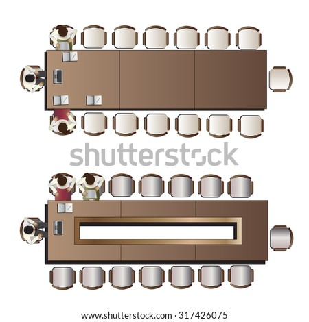 office meeting top view set 2 for interior , vector illustration - stock vector
