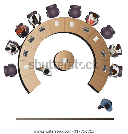 Office meeting top view set 4 for interior , vector illustration - stock vector