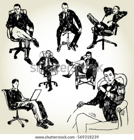 Office Men Sitting on Chairs Hand Drawn