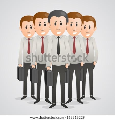 Office men with suitcases. Vector illustration - stock vector