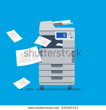 Office Multi-function Printer  scanner.  Isolated Flat Vector Illustration - stock vector