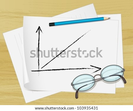 Office notes on paper with glasses - stock vector