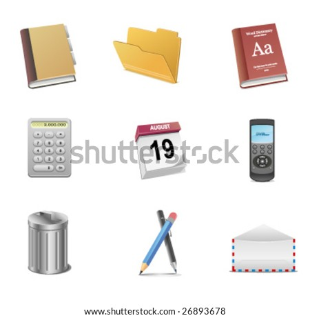 Office objects for web and print use - stock vector