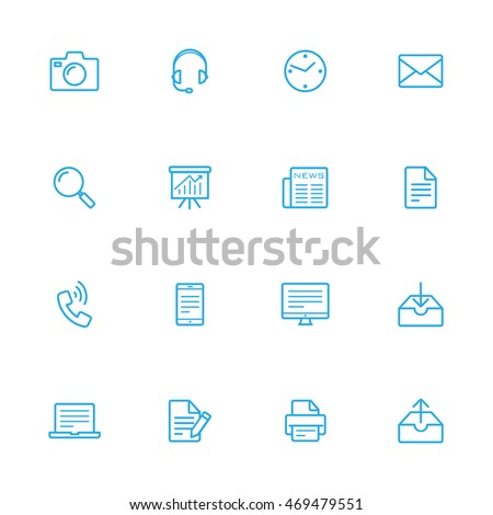 Office, office tools and work icons blue line set