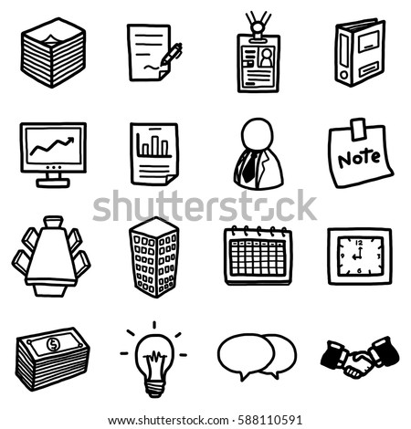 office business objects icons set cartoon stock vector 588110591 rh shutterstock com Soccer Ball Clip Art City Clip Art
