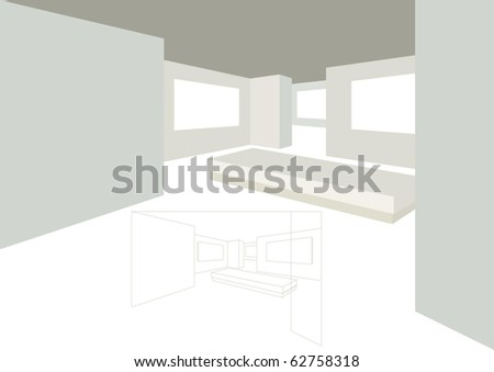 Office or Gallery Perspective View - stock vector
