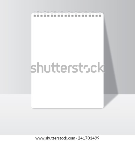 Office paper blank realistic spiral notepad notebook with shadow - stock vector