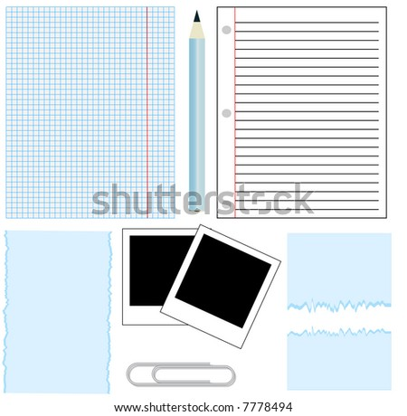 office paper,paper clip,and pen - stock vector