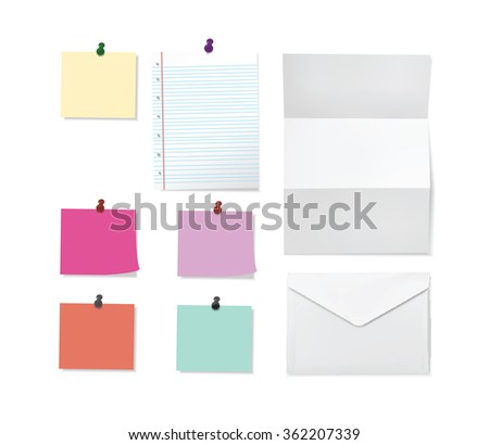 Office paper set, sticky notes, lined and folded sheets, envelope. Vector eps10 illustration. - stock vector