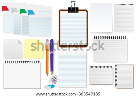 Office paper sheet set  illustration - stock vector