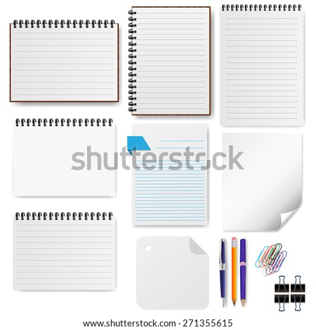 Office paper sheet set vector illustration - stock vector