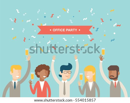 Office party happy people celebrating holidays stock vector office party happy people celebrating holidays flat vector greetings card invitation stopboris Gallery