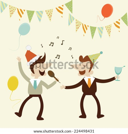 Office party with business man sing karaoke music and enjoy drinks.Vector cartoon design. - stock vector