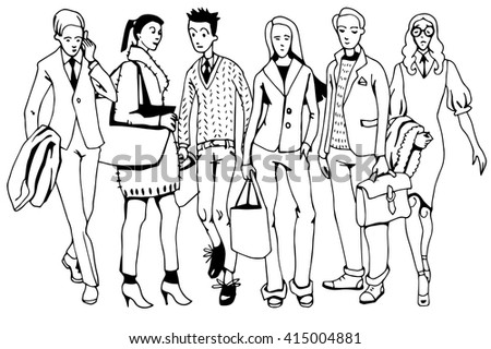 Office People Hand Drawn - stock vector