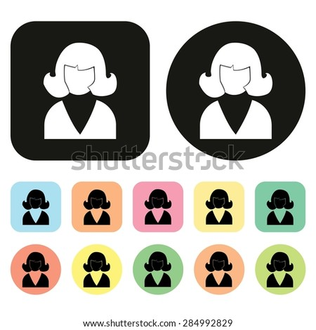 Office people icon. Woman. vector - stock vector