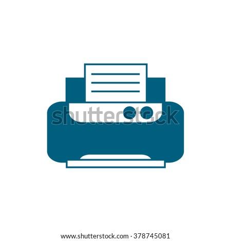 Office printer. Vector icon blue  - stock vector