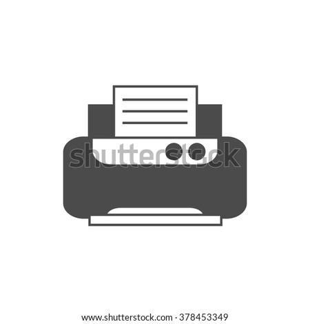 Office printer. Vector icon grey - stock vector