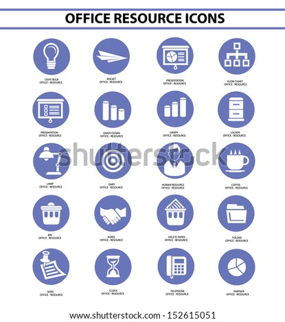 Office resource icons,Blue circle version,vector - stock vector