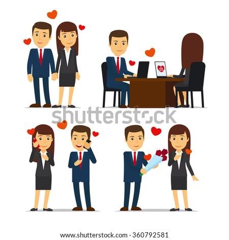 Office Romance Love Affair Work Vector Stock Vector 360792581