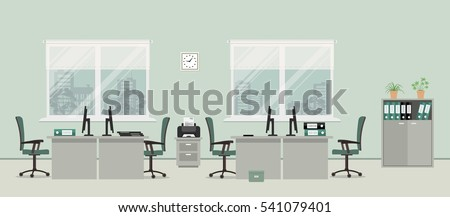 Office Room In A Gray Color. There Are Tables, Green Chairs, Case For