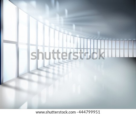 Office room with large window. Vector illustration. - stock vector